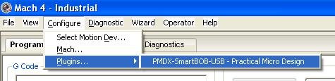 Mach4 Plug-in Configuration menu